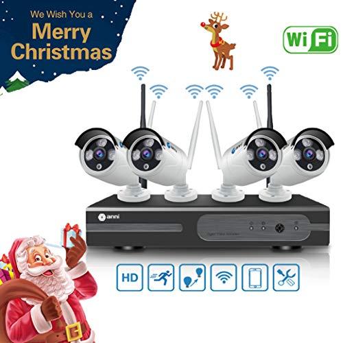 Anni Kit de Cámaras Seguridad WiFi Vigilancia Inalámbrica Sistema 1080P 4CH HD NVR,(4) 1.0MP 720P Cámara CCTV Kit de Seguridad,P2P,Outdoor Visión Nocturna de Cámara De Sistema De Vigilancia,NO HDD