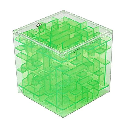 Janly 3D Cube Puzzle Labyrinth Spielzeug Hand Spiel Fall Box Spaß Gehirn Spiel Herausforderung Zappeln Spielzeug Labyrinthball des Labyrinthkugel des Labyrinths 3D (Grün) 3d-fall