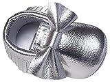 HAPPY CHERRY Nuevo Suaves Zapatos Primeros Pasos Zapatitos sin Cordones PU Borlas Lazo Mocasines para Bebés Niños Niñas 12-18 Meses Color Plata