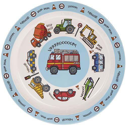 """""""vrrrrooooom"""" Blau Transport Fahrzeug Melamin Kunststoff Kinder, die Abendessen Teller 21cm"""