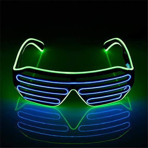 (Mehrfarbiger Shutter EL Draht LED Brille Party – Neon Rave Brille blinkt lustige Brille für Weihnachten Halloween Wild Party Crazy Partys Fluorescent Green+blue)