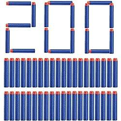 Topways® 200 pcs 7,2 cm Mousse Fléchettes Recharge Dards Refill Bullet pour Nerf N-grève N-Strike Elite série Blasters Pistolet Toy Gun ( Bleu 200 pcs )