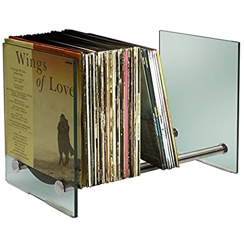 GHOST - Contemporary Glass and Steel 170 LP Vinyl Record Storage - Silver