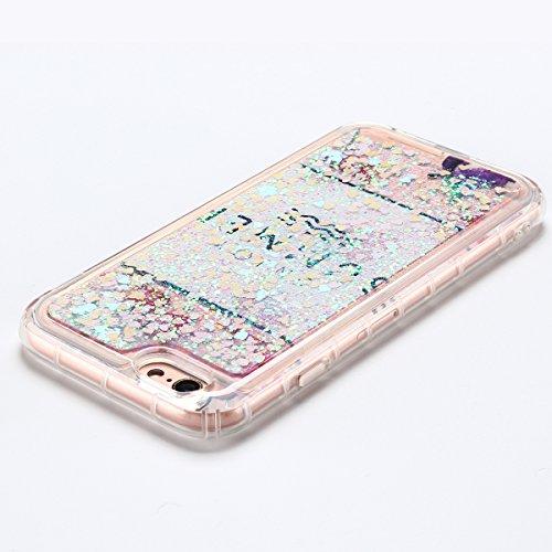 Coque iPhone 6 , E-Lush Apple iPhone 6 / 6S Liquide Sables Mouvants Etui D'Or Animal Quicksand Motif Coque cover Etui Cover Case Bling Bling Glitter Étoile Paillettes Etui Housse Souple Silicone TPU + Rose