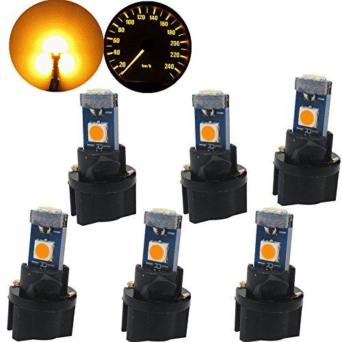 Twist 3 Licht (WLJH T5 LED Leuchtmittel PC74 37 3-3030SMD Canbus Fehlerfrei Instrument Cluster Panel Dash Lichter mit Twist Socket (6 Stück, gelb))