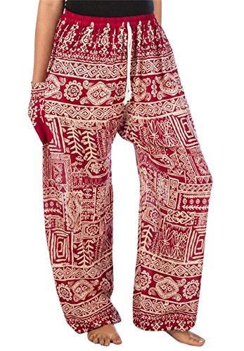 Lofbaz Mujer Pantalones Harem Boho Lazo Funky Borgoña