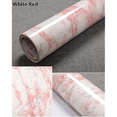 yancorp Rosso Bianco Effetto Marmo, Granito bancone Pellicola Vinile Autoadesivo