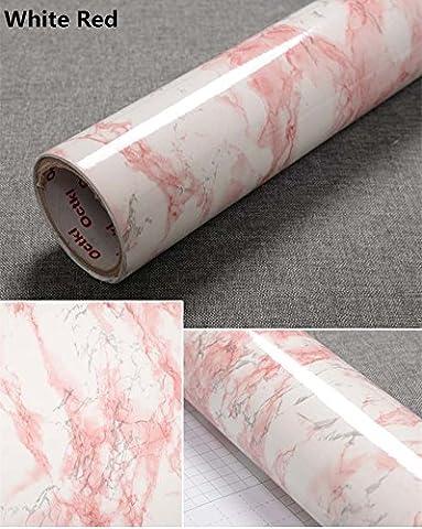 Yancorp Granite Look Marble Effect Counter Top Film Vinyl Self Adhesive Peel-Stick Wallpaper 24 X 78 inch,61cmx2m (White Red)