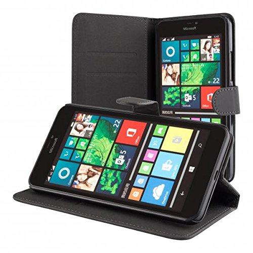 ECENCE Microsoft Lumia 640 XL Cartera Funda Wallet Case Cover + protector de pantalla incluido negro 11010106