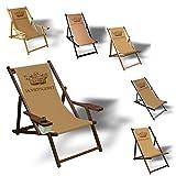 Printalio Hoheitsgebiet - Liegestuhl Bedruckt Balkon Garten Sonnenliege Relax Holz Terrasse | mit Armlehne, Dunkelbraun