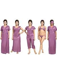 Noty - Women's Satin Nighty - 7 Pc Set- Nighty/Robe/Top/Capri/Bra/Panty/Eye Mask (Purple)