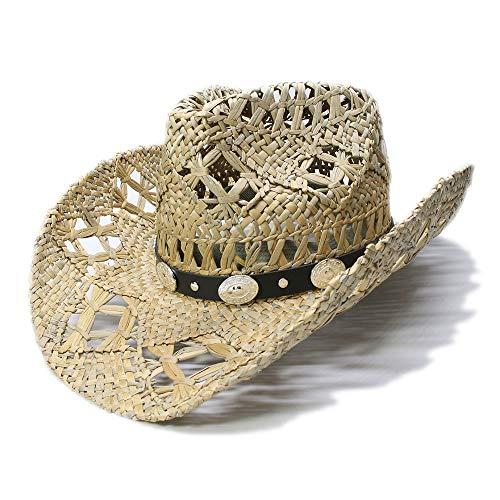XIEWEICHAO 2019 Retro Sonnenhut Frauen männer Sommer Stroh Strand Breiter Krempe Cowboy Western Cowgirl Hut Leer Zwei Pistolen Haus Lederband (56-58 cm) (Farbe : 1, Größe : 56-58CM)