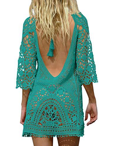 BAISHENGGT Damen Boho Rückenfrei Spitze Bikini Cover Up Strandkleid Sommerkleid Blaugrünes Grün One Size