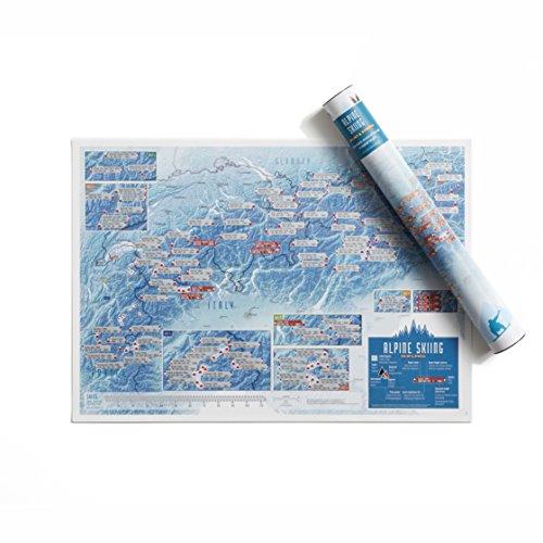 Impresión de tinta rascable de estaciones de esquí - Maps International - Cartel regalo para aficionados al esquí/snowboard en los picos alpinos - Regalo en tubo - Tamaño A2, 59,4 (h) x 42 (w) cm