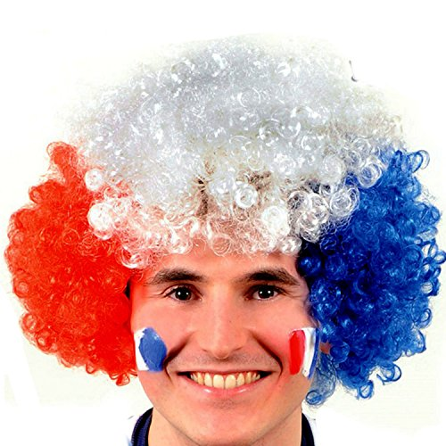 Vococal® Fan Perücke-Fußball Fans Kurz Volle Lockigen Perücken - Halloween Partei Deko Clown Einrollen Haare Perücken, Frankreich Flagge Farbe