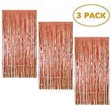 3 Piezas Oro Rosa Cortina de Oropel MetálicaFoil Fringe Curtain Shimmer Puerta Windows Decoraciones para fiesta