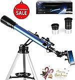 TELMU Téléscope Astronomique - 60 / 700 mm Téléscope, Oculaires K6mm et K25mm, viseur 5x24 et Molette d'Azimut, Vue 360°, Convient aux Amateurs Débutants (Adaptateur pour Smartphone)