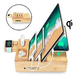 AICase USB Ladestation Mehrfach 5-Port dockingstation USB Ladegerät und Wireless Charger Qi Ladestation für AirPods/ipad/iwatch iPhone Handy und Tablet