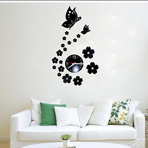 Preisvergleich Produktbild Funk-Wanduhr Diy 3D Wanduhr Spiegel Schmetterlings entfernbarer Acryl Wand Aufkleber dekorative Uhr LuckyGirls (Schwarz)