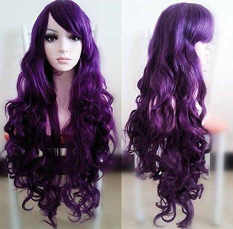 Beauty Smooth Hair 80cm Spiral Curly Cosplay Perücke (violett)
