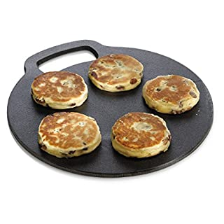 KitchenCraft Round Baking Stone/Cooking Griddle, Cast Iron, Black, 27 cm