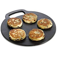KitchenCraft Round Baking Stone/Cooking Griddle, Cast Iron, Black, 27 cm