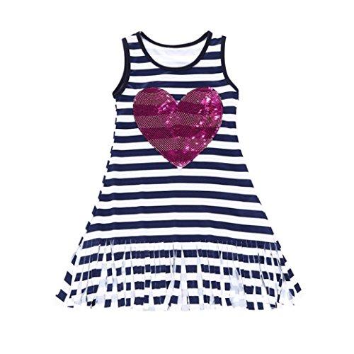 Niñas Verano 2019, Zolimx Niños Infantiles Bebé Niñas Vestido de Corazón Lentejuelas Rayas Borla Sol Vestidos Trajes