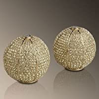 L'objet Gold Plated Pave Sphere Salt and Pepper Shaker with Yellow Crystals by L'Objet