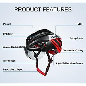 Casco de ciclismo INBIKE ultraligero con lentes magnéticos desmontables, Red+Black with Lens