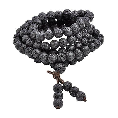 JOVIVI 8mm Natural Schwarz Lava Stein Kugel Perlen Armband Tibetische Buddha Gebet Mala Armreif Wickelarmband Halskette
