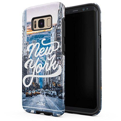 Womens Times Square (Glitbit Hülle Kompatibel mit Samsung Galaxy S8 New York City Big USA Times Square Travel Wanderlust Manhattan Amerika Robustes Stoßfestes Doppellagiges Hardcase + Silikon Handyhülle Case Cover)
