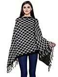 Matelco Black & White Women's Woolen Long Knitted Poncho (Free Size)