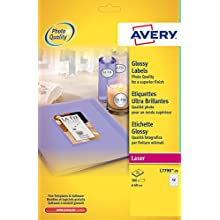 Avery L7790-25 Glossy Round Labels for Laser Printers (60 mm Dia Round Labels, 12 Labels Per A4 Sheet, 25 Sheets)