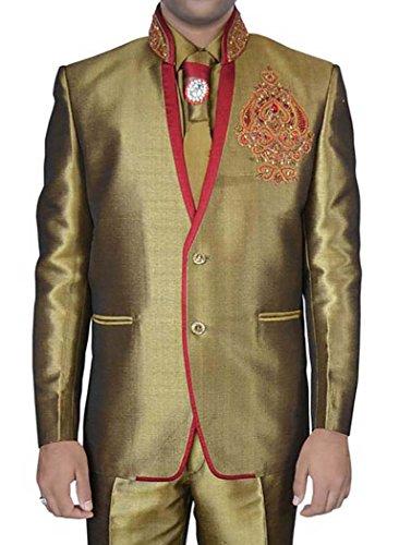 INMONARCH Designer-Bettwäsche Goldene Jute 5 PC Jodhpuri Anzug JO0317R48 58 or 4XL (Höhe 171 cm bis 180 cm) Golden - Womens Designer-bettwäsche