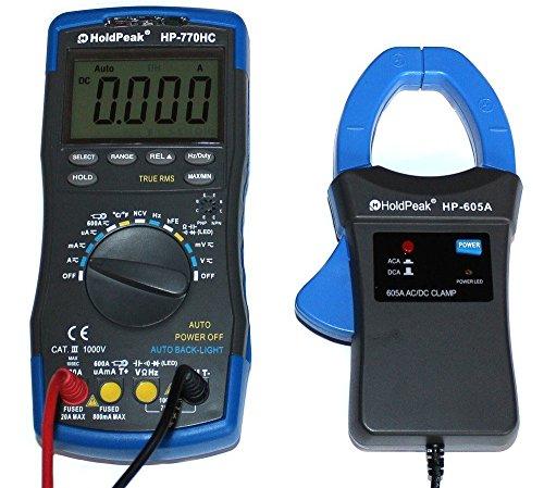 Holdpeak Digital Multimeter HP-770HC TrueRMS-Messung mit Strom-Zangenadapter HP-605A, Fehlbedienungssperre, Blau-Grau