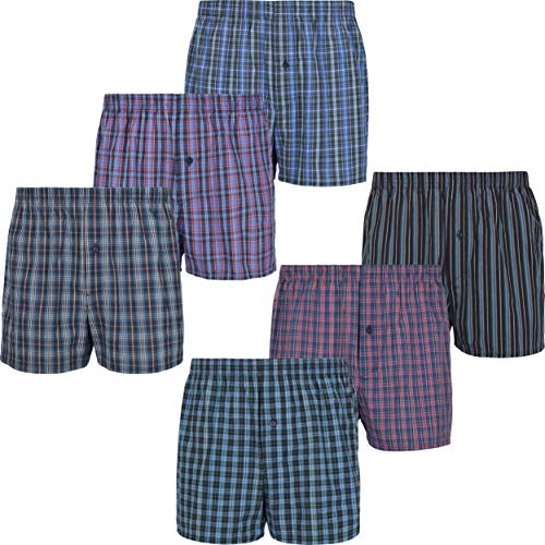 Mctam Herren Boxershorts Men 6er Pack Unterwäsche Unterhosen Männer American Klassisch Kariert 100% Baumwolle, XXXL, 6X Mix American 2 (Amazon Deals)