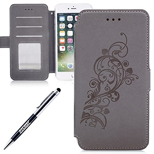 JAWSEU Coque pour iPhone 7 Plus,iPhone 7 Plus Etui Portefeuille Pu avec Dragonne ,iPhone 7 Plus Leather Case Wallet Protective Cover iPhone 7 Plus en Cuir Folio Housse Coque de Protection,Ultra Slim B Gris/Une fleur