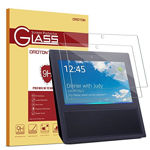 [2 Pack] Echo Show Screen Protector, OMOTON Full Coverage Tempered Glass High Definition Screen Protector for Amazon Echo Show 2017 with [Premium Clarity] [Anti-Scratch} [No Bubble Install]
