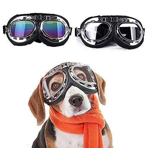 HUILI Haustier Hund Sonnenbrille Mode, Haustier Schutzbrille Mit UV Schutz Winddicht Wasserdicht Haustier Sonnenbrille Mit Faltbaren Großen Linsen Design (2 STÜCKE) -