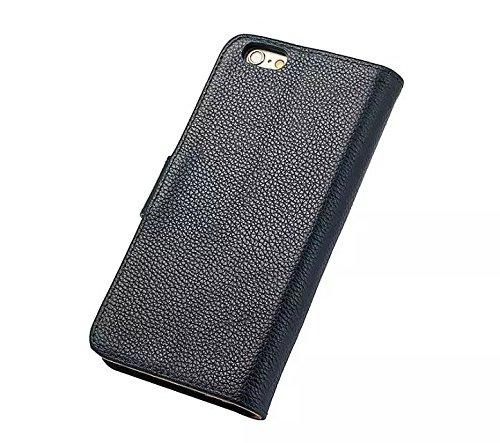 EKINHUI Case Cover Luxus Echtleder Fall Horizontale Flip Folio Stand Beutel Brieftasche Fall Deckung mit magnetischen Buckle & Card Slots für IPhone 6 & 6s ( Color : Rose ) Blue