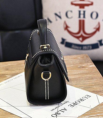 Baymate Damen Mode Tragetaschen Damen Reißverschluss Umhängetasche Handtaschen Schwarz