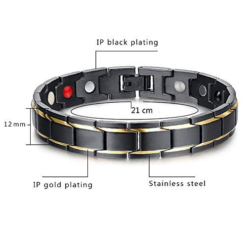 Imagen de jfume para hombre pulseras chapado en oro negro acero inoxidable con magnéticas 21cm y enlace removal kit alternativa