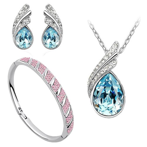 Beautiful Ocean Blue Austrian Crystal Necklace Set for Women- Combo With Crystal Earrings And Crystal Bracelet  available at amazon for Rs.475