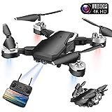 JFMBJS Drone avec 4K HD Caméra, Pliant HD Photographie Aérienne Quadcopter, Gesture Photo Enregistrement Vidéo FPV Contrôle À Distance D'aéronefs, Vol 20 Minutes, Drone pour Débutants,Noir