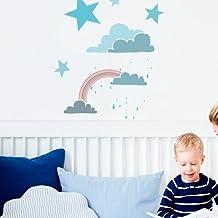 TODO STENCIL Home Decor Infantil 001 Nubes Arcoiris, Medidas: Stencil 50 x 70 cm