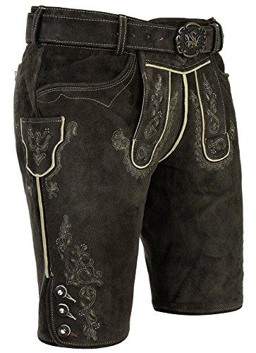 Spieth & Wensky - Herren Trachten Lederhose mit Gürtel, Alex (240471-0613), Größe:50, Farbe:trüffel/St 134-D Sand (5190)