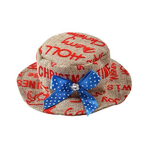 (Pushally Hut für Haustiere, Britischer Stil, Sonnenschutz, Modisch, klassisch, Weihnachtsmütze)