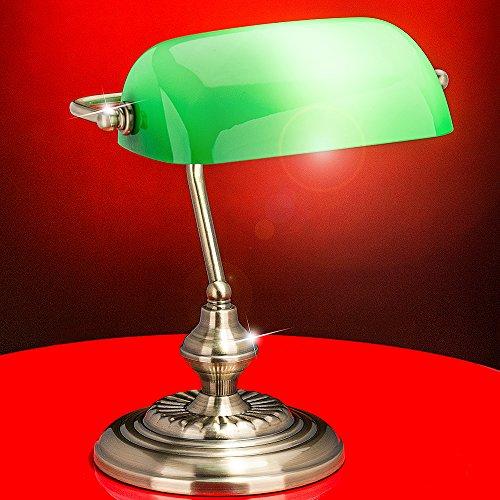 MIA Light Banker Schreib ↥330mm/Antik/Golden/Grün/Lampe Bankerlampe Bankerleuchte Bürolampe Büroleuchte Schreibtischlampe Schreibtischleuchte