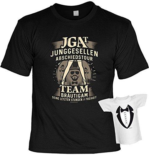 Junggesellen T-Shirt Set mit Mini Shirt JGA T Junggesellen Abschiedstour fürs Team Bräutigam Leiberl Junggeselle Poltern Polterabend Leiberl Schwarz