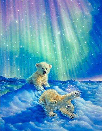 Preisvergleich Produktbild Set Diamond Painting Strass Mosaik Bild Basteln Bastelset Steine Eisbären 30x20
